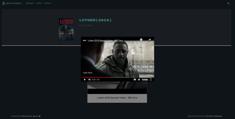 Screenshot of What to Watch Site - 1